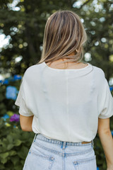 Smocked Top in Ivory Back View