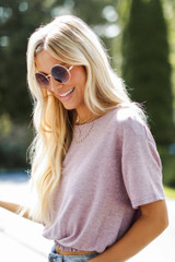Mauve - Smocked Top Front View on model