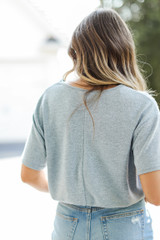 Smocked Top in Blue Back View