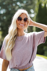 Smocked Top in Mauve Front View