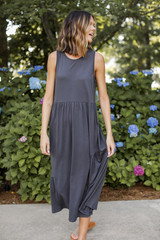 Charcoal - Model wearing a Tiered Maxi Dress