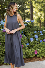 Charcoal - Dress Up model wearing a Tiered Maxi Dress