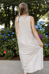 Tiered Maxi Dress in Tan Back View