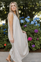 Tiered Maxi Dress in Tan Side View