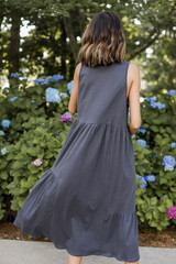 Tiered Maxi Dress in Charcoal Back View