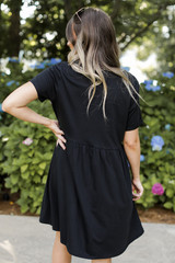 Button Front Babydoll Dress Back View