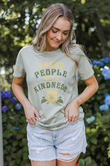 Dress Up model wearing the Treat People With Kindness Graphic Tee