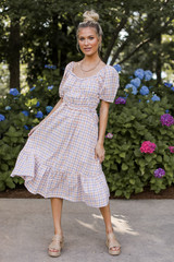 Gingham Midi Dress Front View
