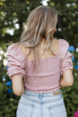 Smocked Crop Top in Mauve Back View