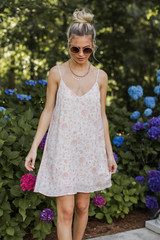 Floral Swing Dress Front View on model