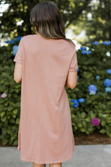 T-Shirt Dress in Mauve Back View