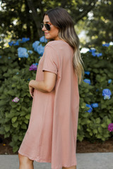 T-Shirt Dress in Mauve Side View