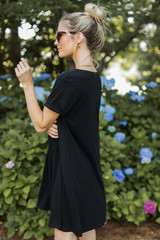 T-Shirt Dress in Black Side View