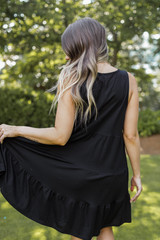 Tiered Dress in Black Back View