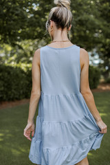 Tiered Dress in Denim Back View