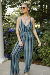 Blue - Striped Jumpsuit from Dress Up