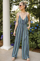 Striped Jumpsuit Front View