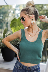 Teal - Dress Up model wearing a Cropped Sweater Tank