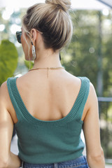 Cropped Sweater Tank in Teal Back View