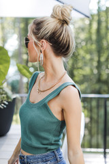Cropped Sweater Tank in Teal Side View