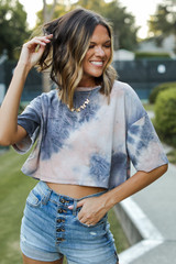 Tie-Dye Cropped Tee Front View