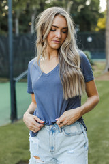 Ultra Soft Basic V-Neck Tee in Navy Side View