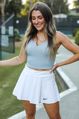 Blue - Dress Up model wearing a Notched Cropped Tank
