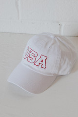 USA Baseball Hat in White Side View