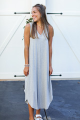 Heather Grey - Jersey Maxi Dress Front View