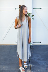 Heather Grey - Jersey Maxi Dress Front View on model