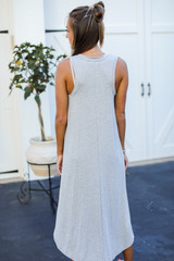 Jersey Maxi Dress in Heather Grey Back View