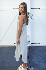 Jersey Maxi Dress in Heather Grey Side View