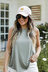 Olive - Model wearing an Everyday Jersey Tank