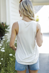 Everyday Jersey Tank in Ivory Back View