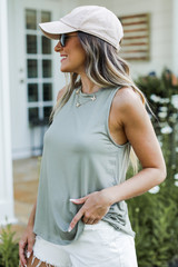 Everyday Jersey Tank in Olive Side View
