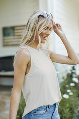 Everyday Jersey Tank in Taupe Side View