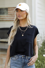 Black - Cropped Tee Front View