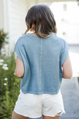 Cropped Tee in Denim Back View