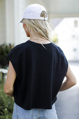 Cropped Tee in Black Back View