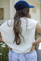 Cropped Tee in White Back View