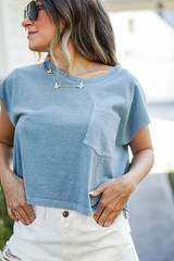 Cropped Tee in Denim Front View