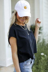 Cropped Tee in Black Side View