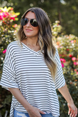 White/Black - Striped Tee from Dress Up