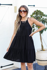 Swiss Dot Tiered Dress in Black Front View
