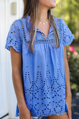 Eyelet Blouse in Denim Front View