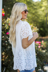 Eyelet Blouse in White Side View