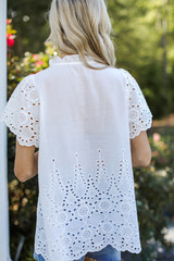 Eyelet Blouse in White Back View