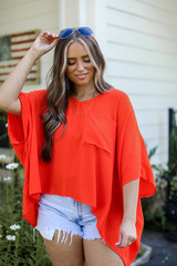 Red - Oversized Blouse