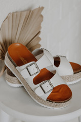 Flat Lay of Buckled Platform Espadrille Sandals in White