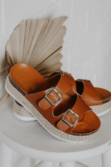 Flat Lay of Buckled Platform Espadrille Sandals in Tan